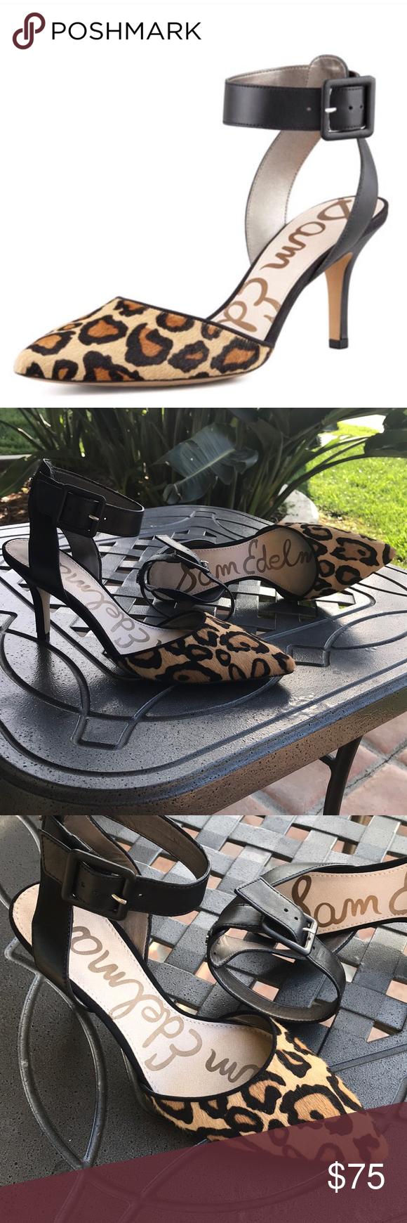 832eedfcf732 Sam Edelman Okala leopard cow fur Sam Edelman dyed calf hair (China) and  leather d Orsay pump. 2.8