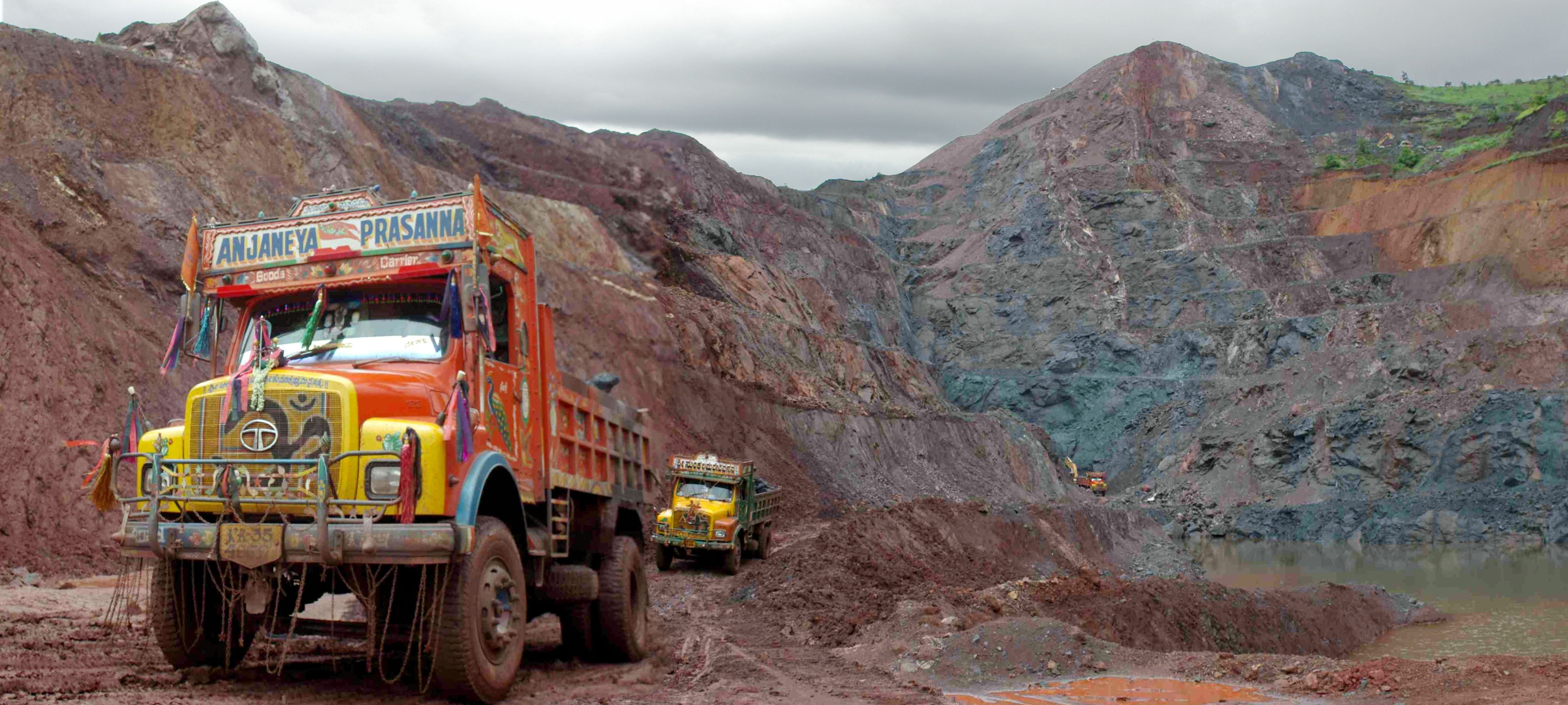 Iron ore mining in Karnataka state. India Iron ore
