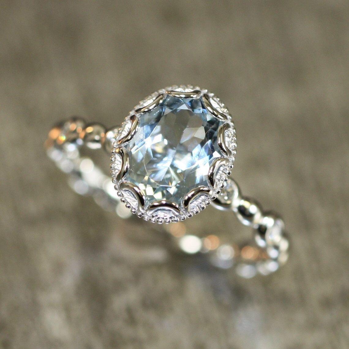 Floral Aquamarine Engagement Ring in 14k White Gold Pebble Diamond Wedding Band 8x6mm Oval Aquamarine Ring March Birthstone Gemstone Ring
