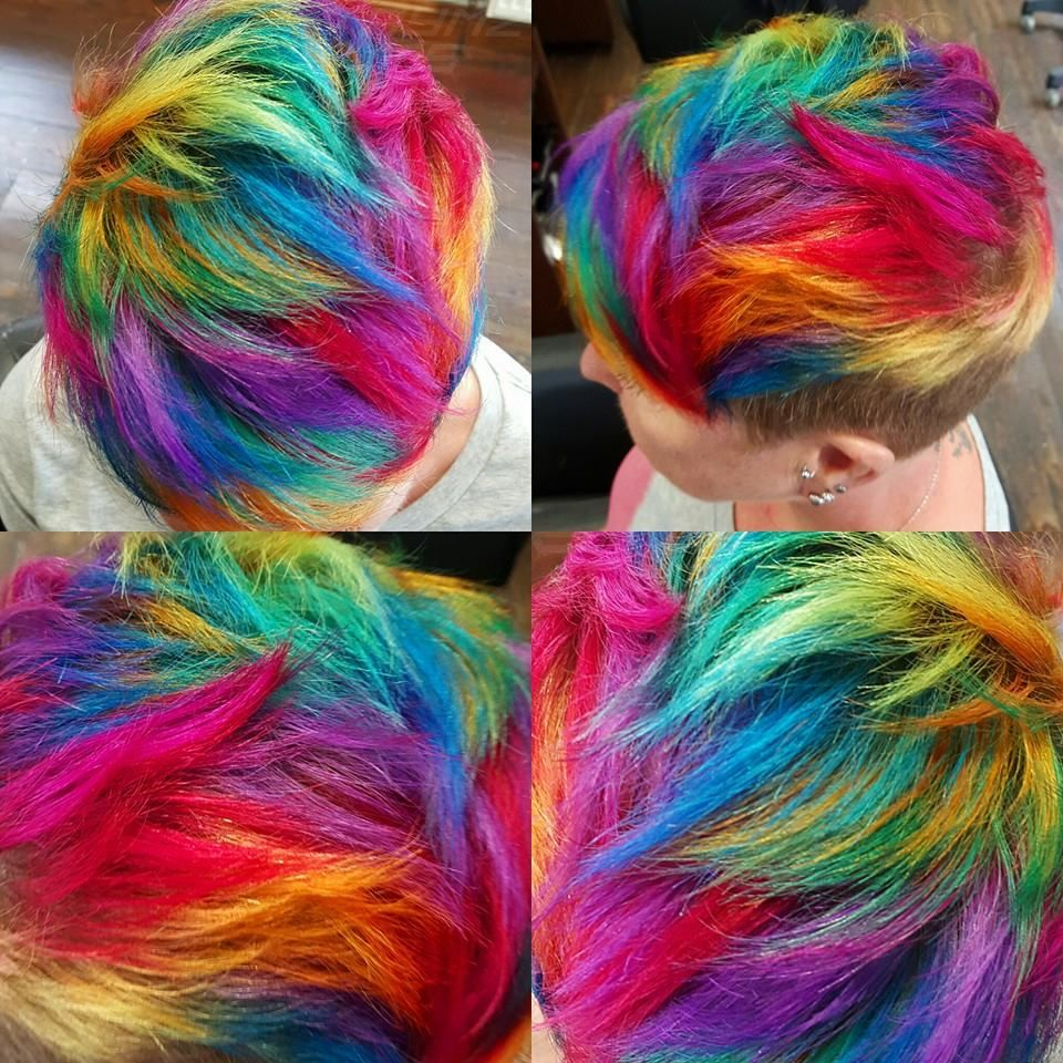bright hair colors on pinterest bright hair rainbow hair and short rainbow hair by jaymzcutshair short rainbow hair