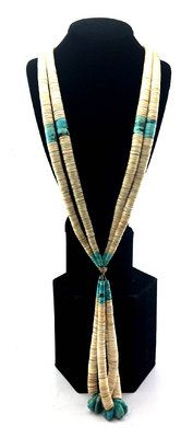 circa 1910-2000, Large Native Jewelry Collection - Santo Domingo Turquoise, Clamshell and Silver Necklace with Joclas
