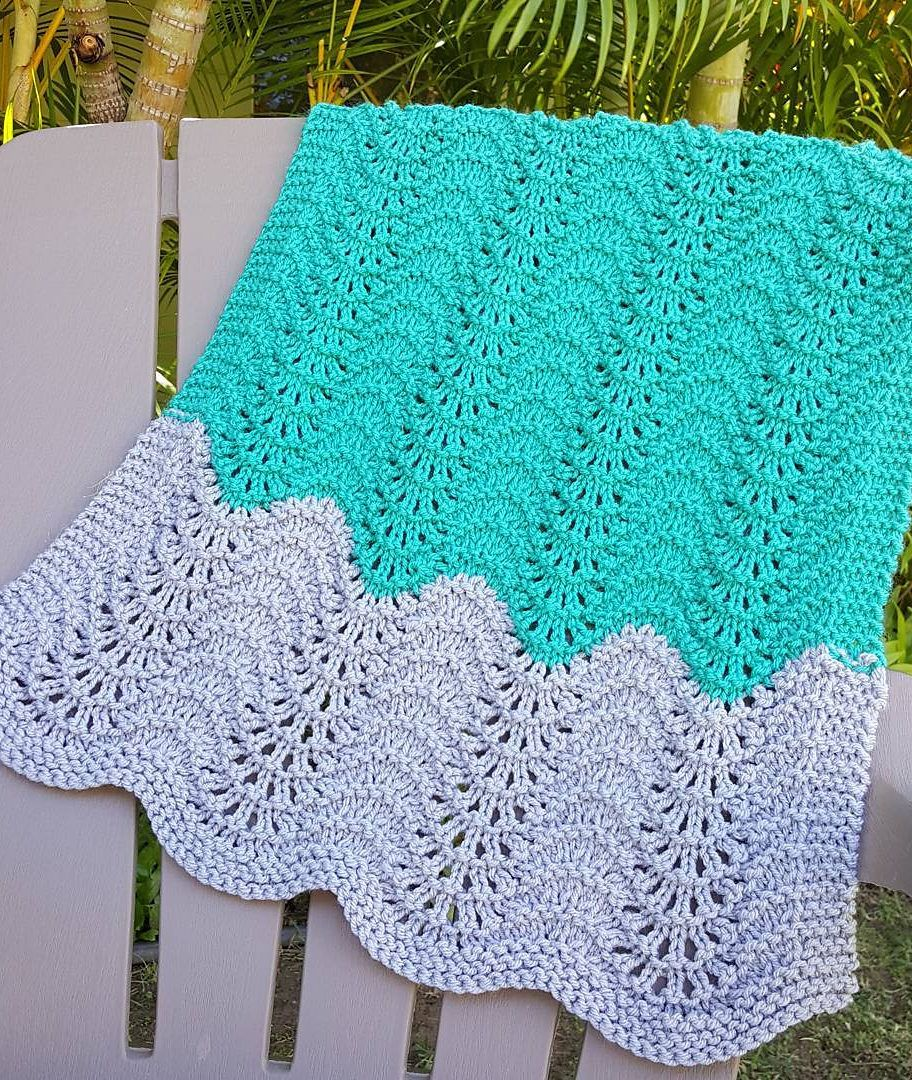 Free Knitting Pattern for Feather and Fan Car Seat Baby Blanket ...
