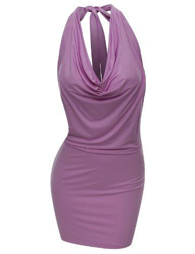 Doublju womens fitted dress with halter neck and sexy back