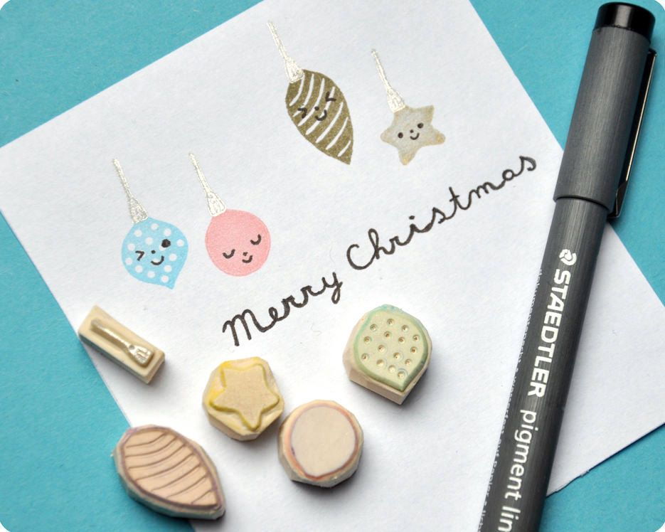 Xmas balls hand carved rubber stamps, set of 5. $15.00, via Etsy.