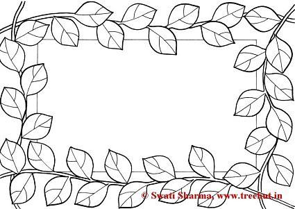 Leaves Picture frame coloring page for art therapy | Floral Coloring ...