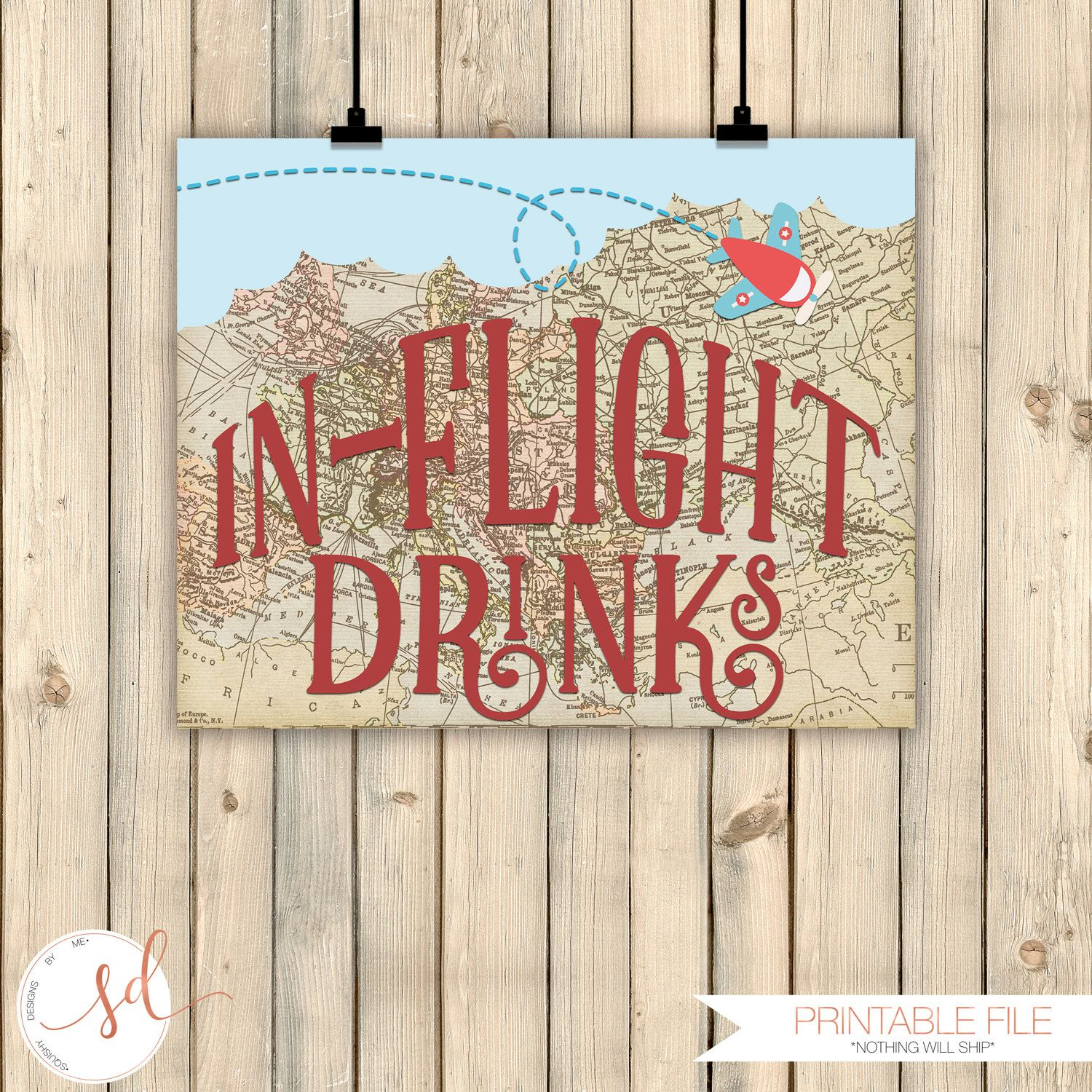 Vintage Travel Party Signs, In-Flight Drinks, Airplanes