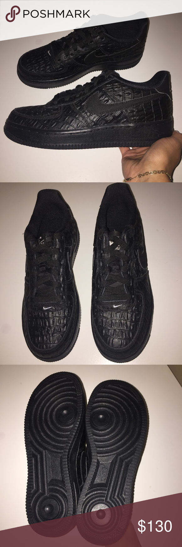save off d6aa5 bf0c9 ... coupon for nike air force 1 af1 black gator skin sneakers new without  box. never