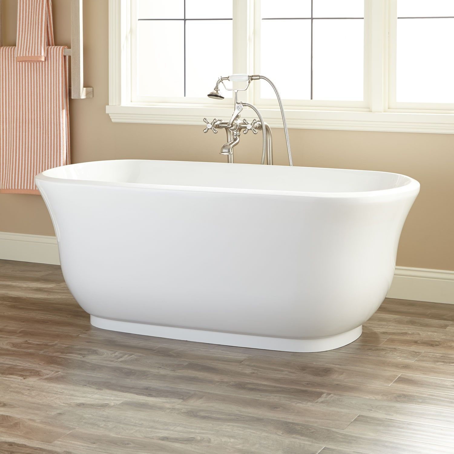 ensemble drain shipping bathtub overstock today tubs mirabelle garden product white free foot home tub left
