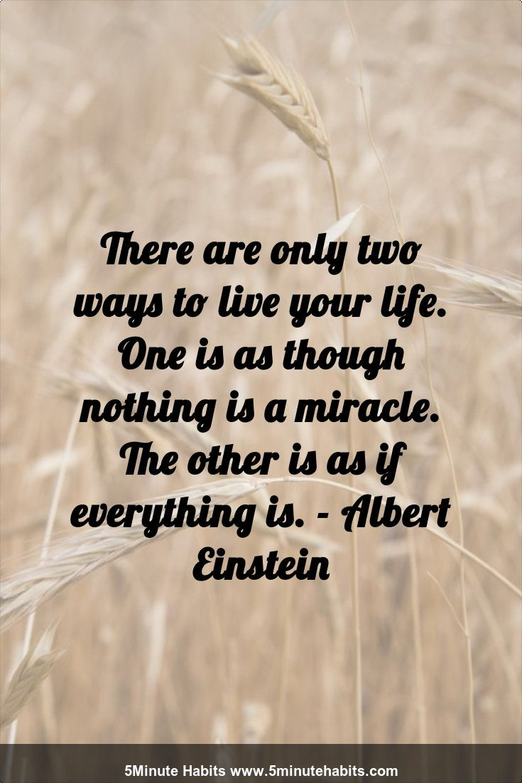 Quotes To Live Your Life By There Are Only Two Ways To Live Your Lifeone Is As Though