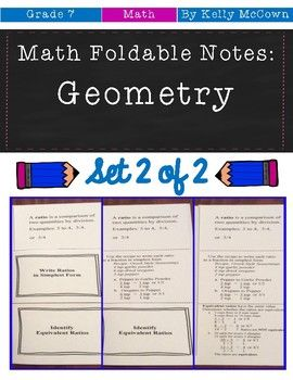 Middle School Math Foldable Notes: Geometry {Grade 7: Set 2}