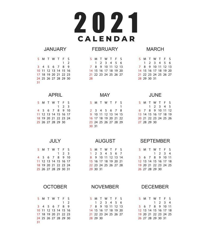 2021 Calendar Printable | 12 Months All in One | Calendar ...