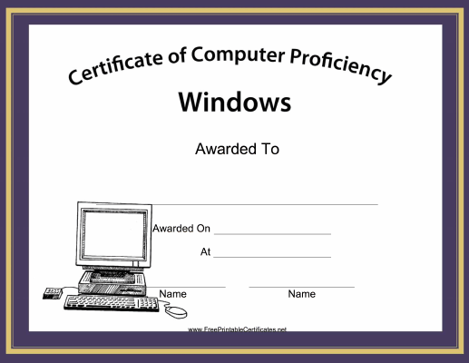 People competent with microsoft windows will enjoy this free people competent with microsoft windows will enjoy this free printable certificate of computer proficiency that yelopaper Gallery