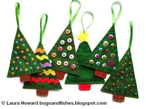 Insectos y Peces por Lupin Cómo Felt Árbol de Navidad Adornos