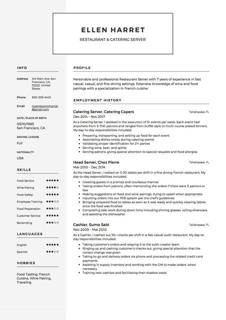 Resume example for server stylish 12 restaurant server