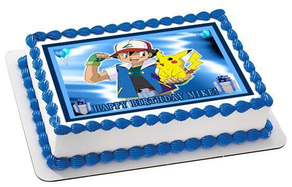 Pokemon Go ash pikachu cake cup toppers edible wafer//icing sheet personalised