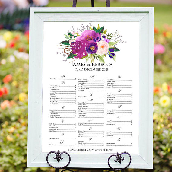 Wedding seating chart alphabetical printable with purple flowers wedding seating chart alphabetical printable with purple flowers digital wedding sign guests list s mightylinksfo