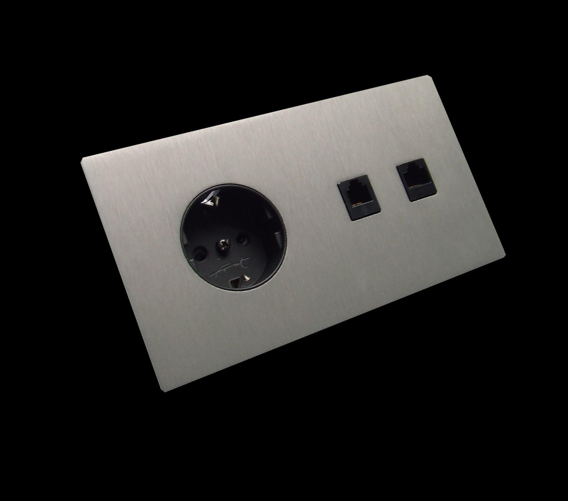 5 1 double german socket double rj45 rj11 brushed - Prise rj45 double ...