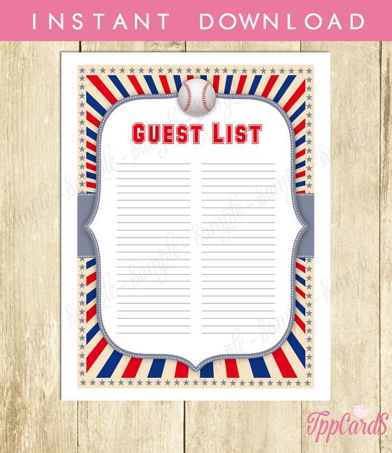 Instant Download Baseball Guest List Printable Baseball Baby - party guest list