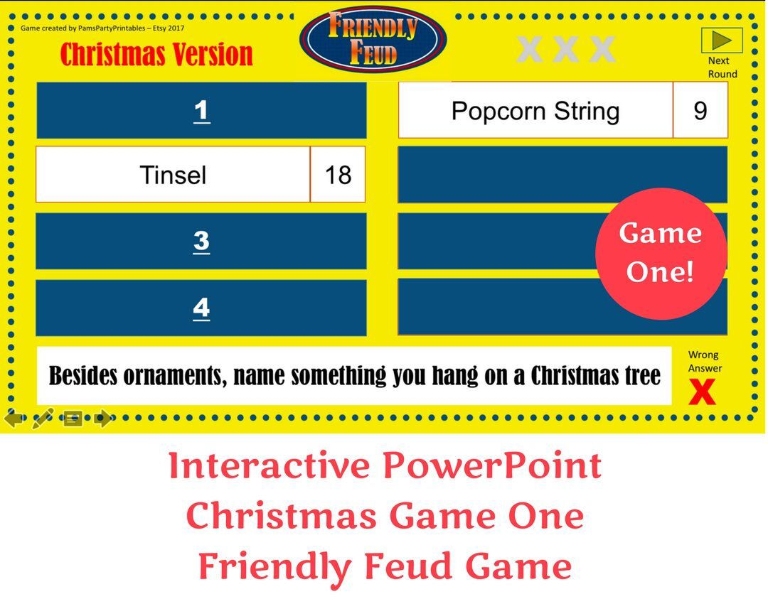 Christmas Friendly Feud GAME ONE Interactive PowerPoint