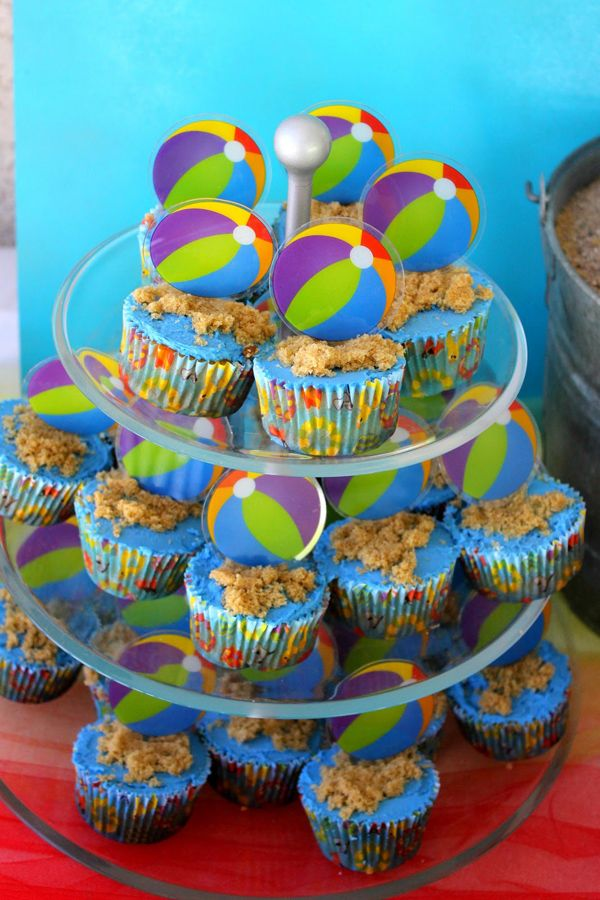 Beach Ball Birthday Bash Via Karas Party Ideas Cupcakes