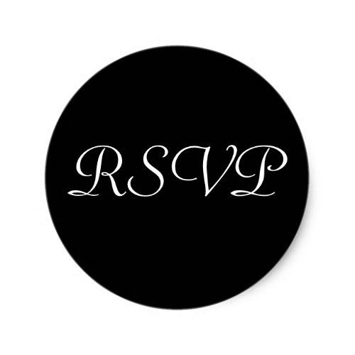 RSVP Wedding Sticker -Black with White Letters