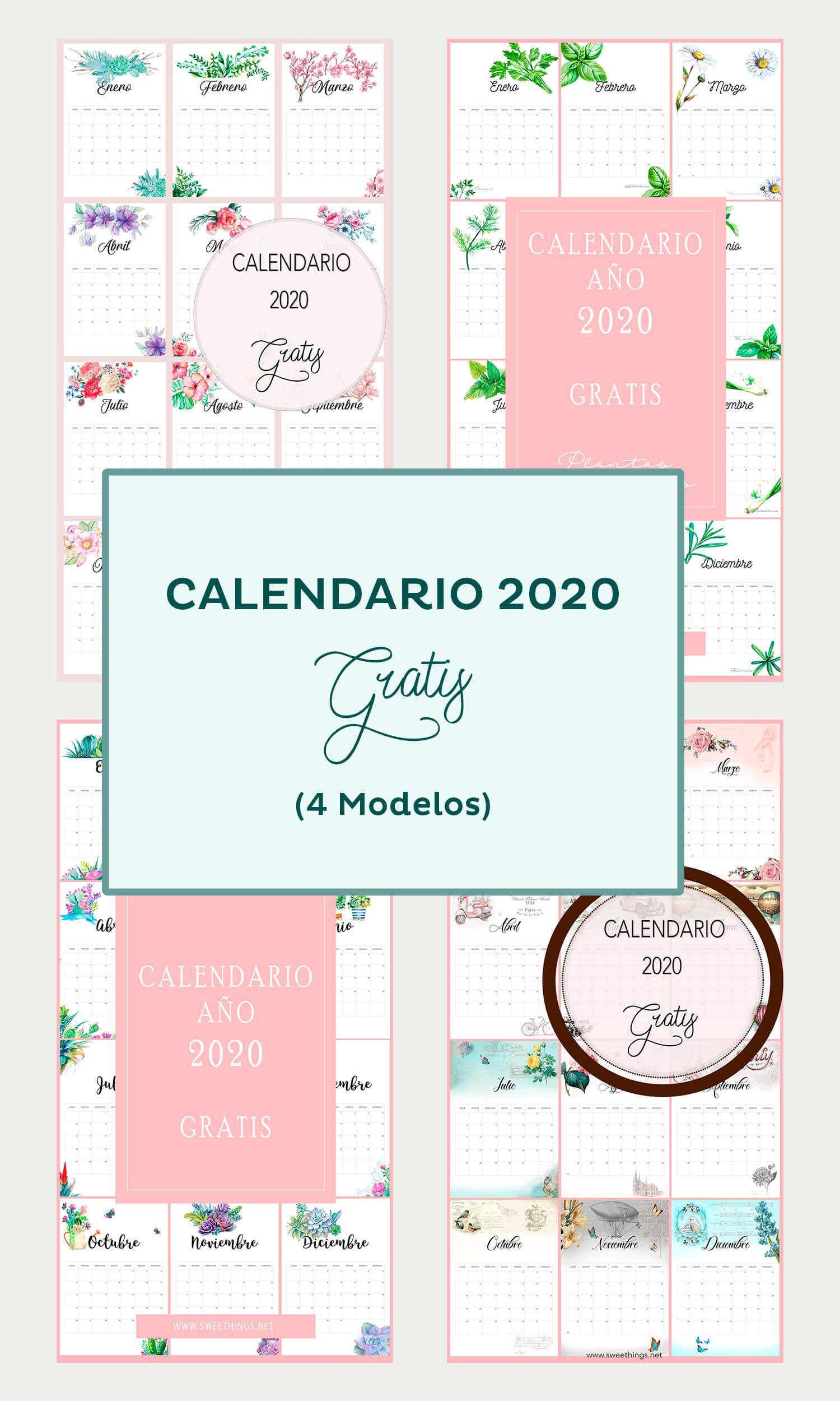descargar calendario mensual 2020 gratis