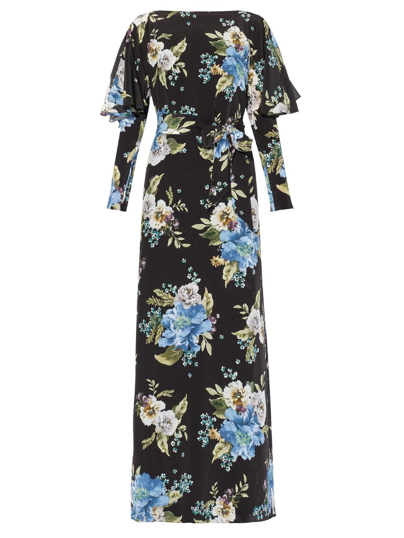 Jude Carnation-print crepe de Chine maxi dress | E