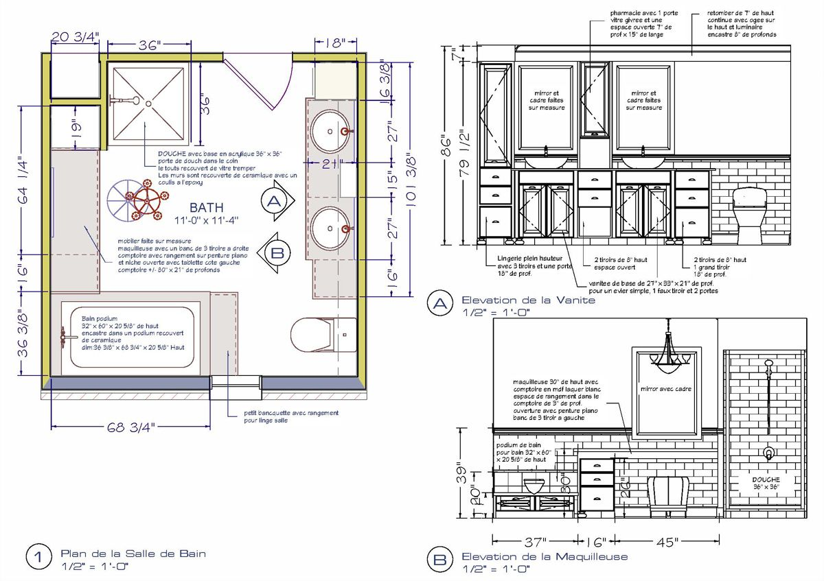 Plans And Elevations Preliminary For A Bathroom