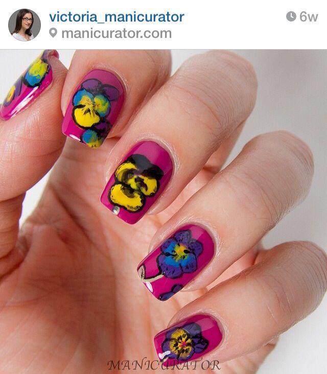 Pansies Nails Nail Designs Summer Cool Nail Designs Flower Nail Art