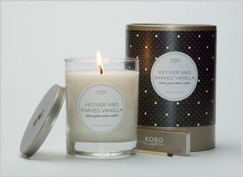 KOBO 100% Soy Candle - Vetiver and Shaved Vanilla  Aromatic notes of smooth vetiver and rich vanilla bean rise above a warm base of earthy patchouli, smooth sandalwood, golden amber and sweet musk.