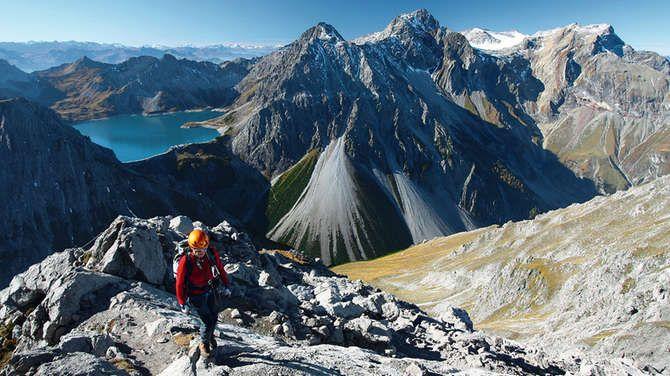 Klettersteig Saulakopf : Blick vom saulakopf zu lünersee und schesaplana berge