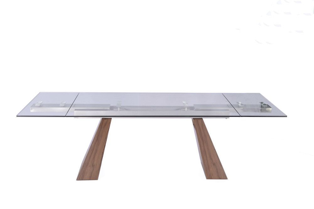"Vittorio Extendable Dining Table Walnut 1/2"" tempered clear glass top"