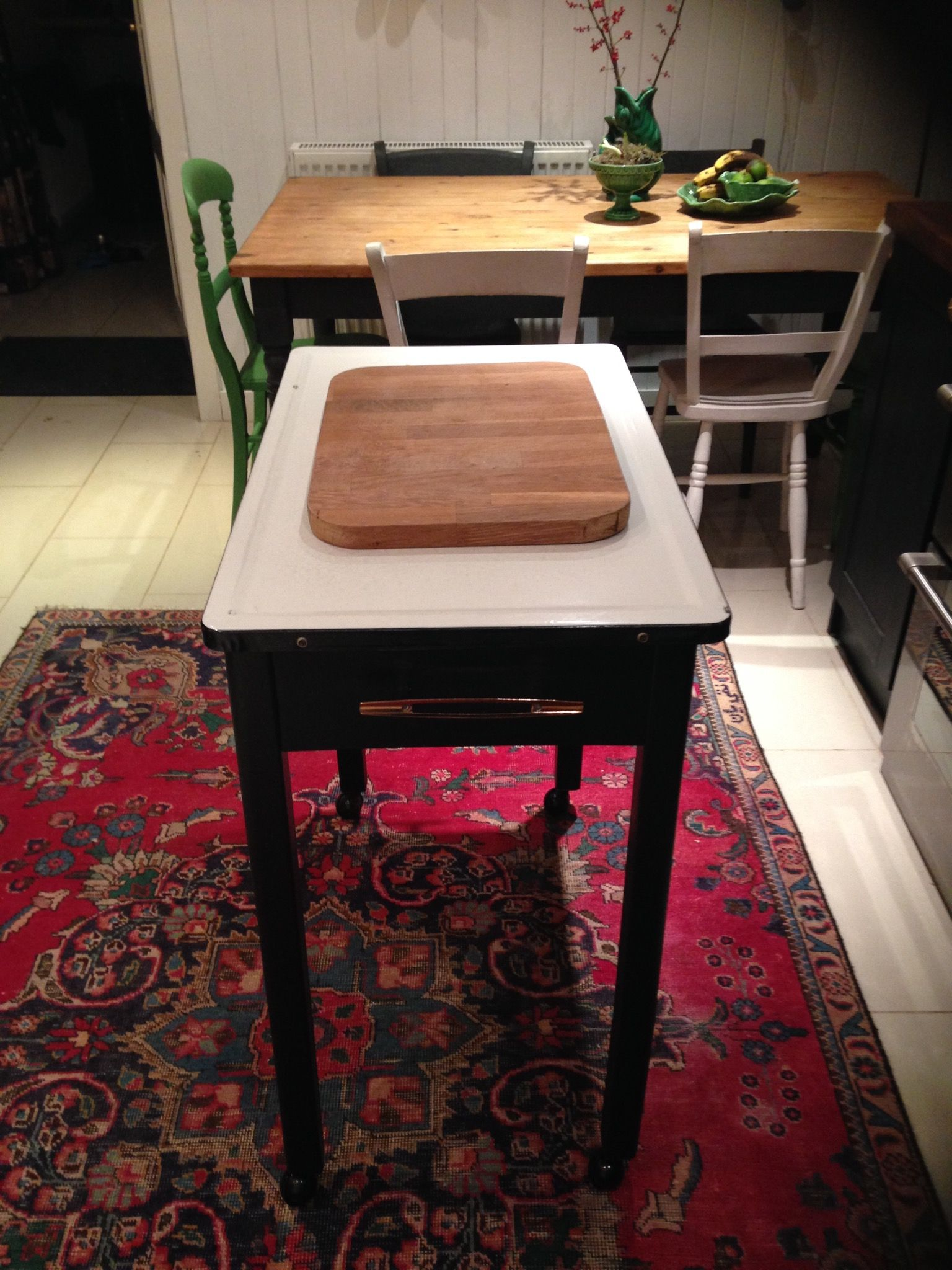 New kitchen island, recycled an ancient enamel top table found in skip.