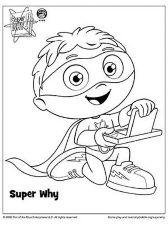 Whyatt and his super duper computer in Super Why coloring