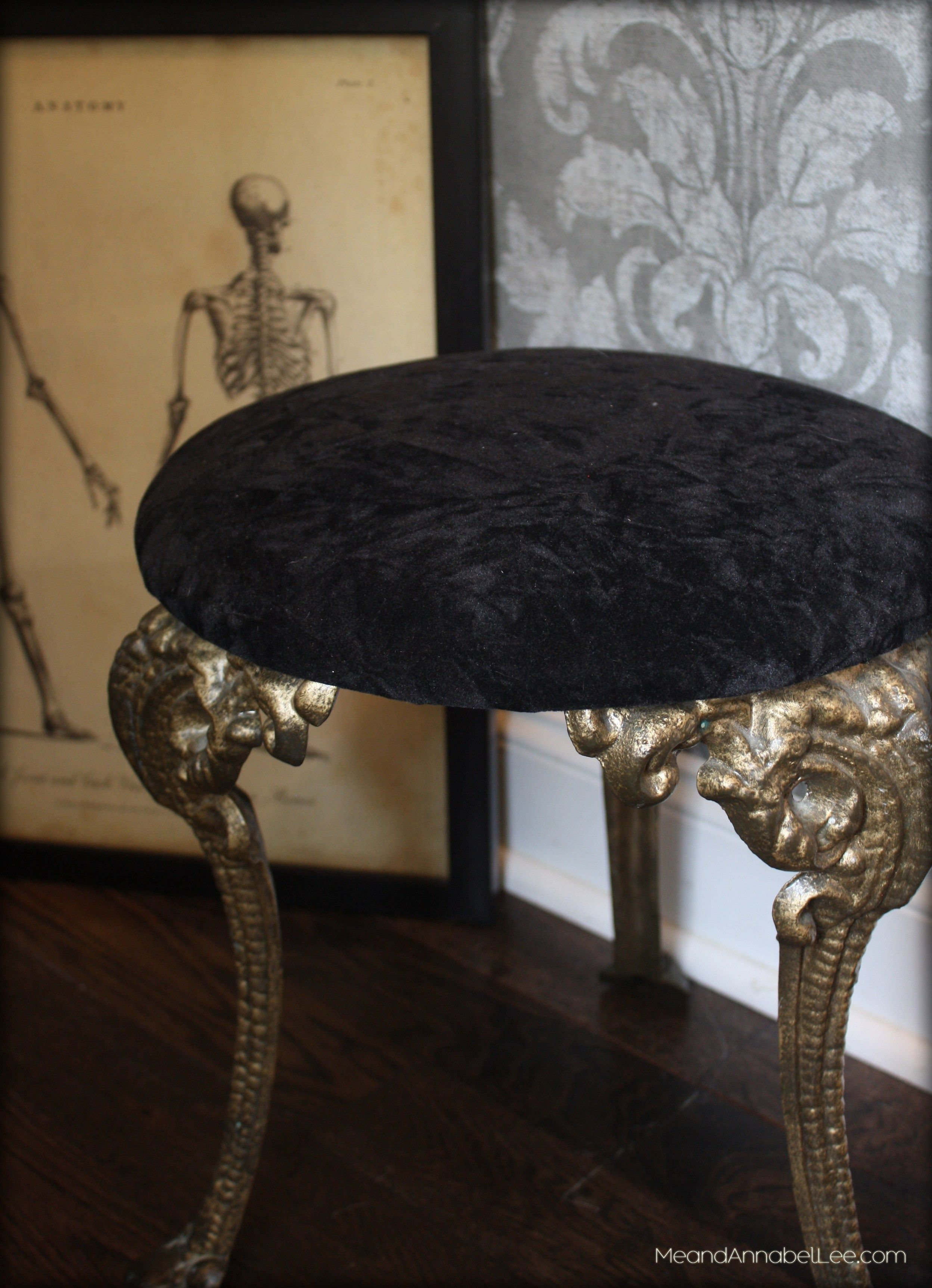 Fabulous DIY Black Crushed Velvet Upholstered Gothic Piano Stool   Goth It  Yourself   Gothic Home Decor   Trash To Treasure Project   Www.