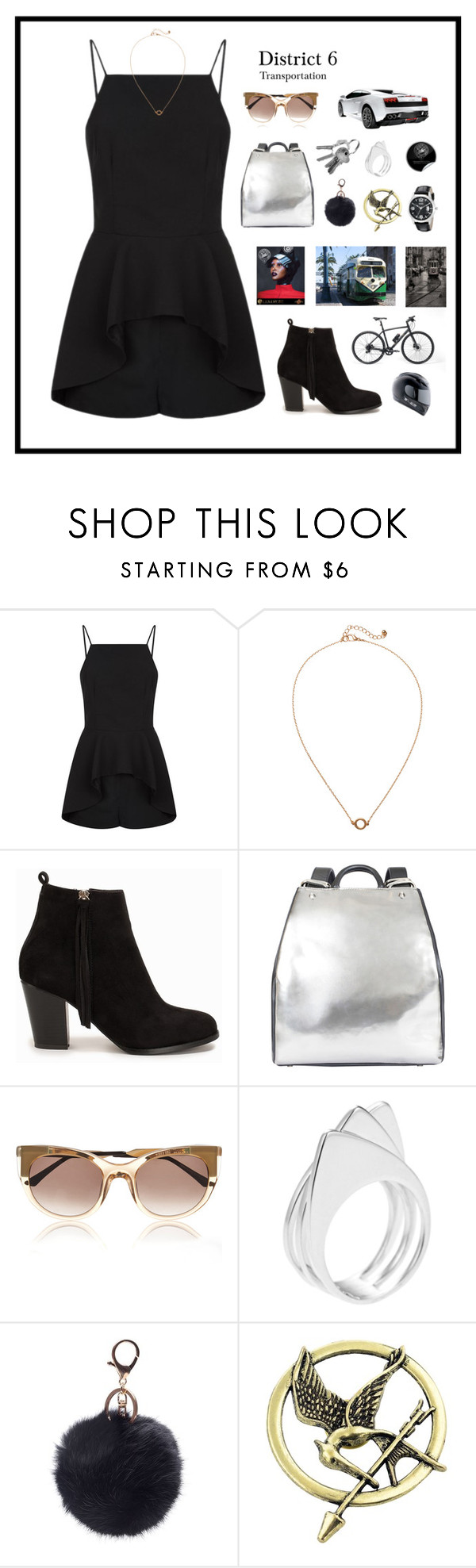"""District 6: Transportation"" by mandiemoo ❤ liked on Polyvore featuring Gucci, Finders Keepers, Monki, Nly Shoes, Ruxx, Thierry Lasry, Ludevine and GUESS"