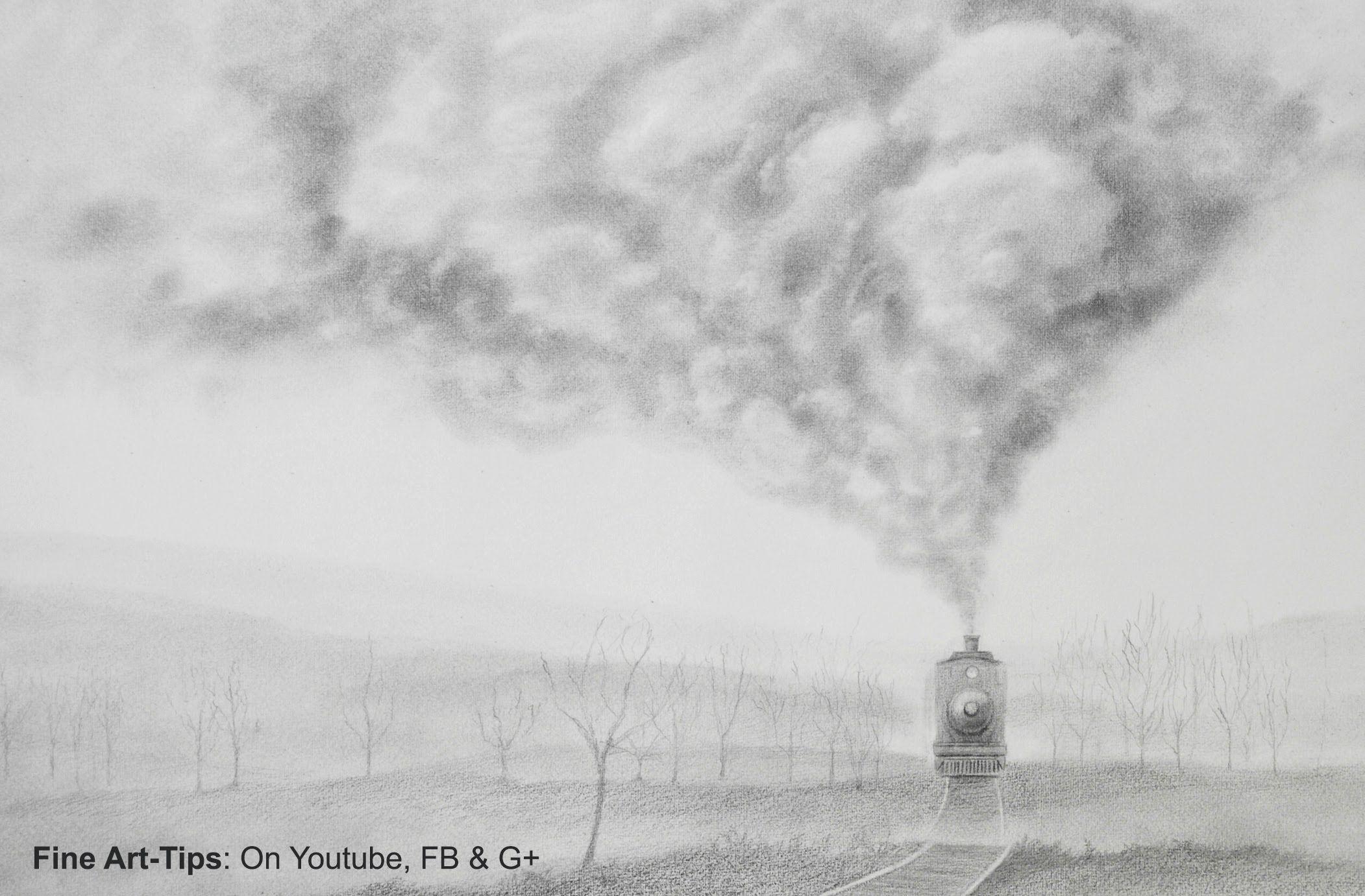 How to draw smoke how to draw a realistic train art