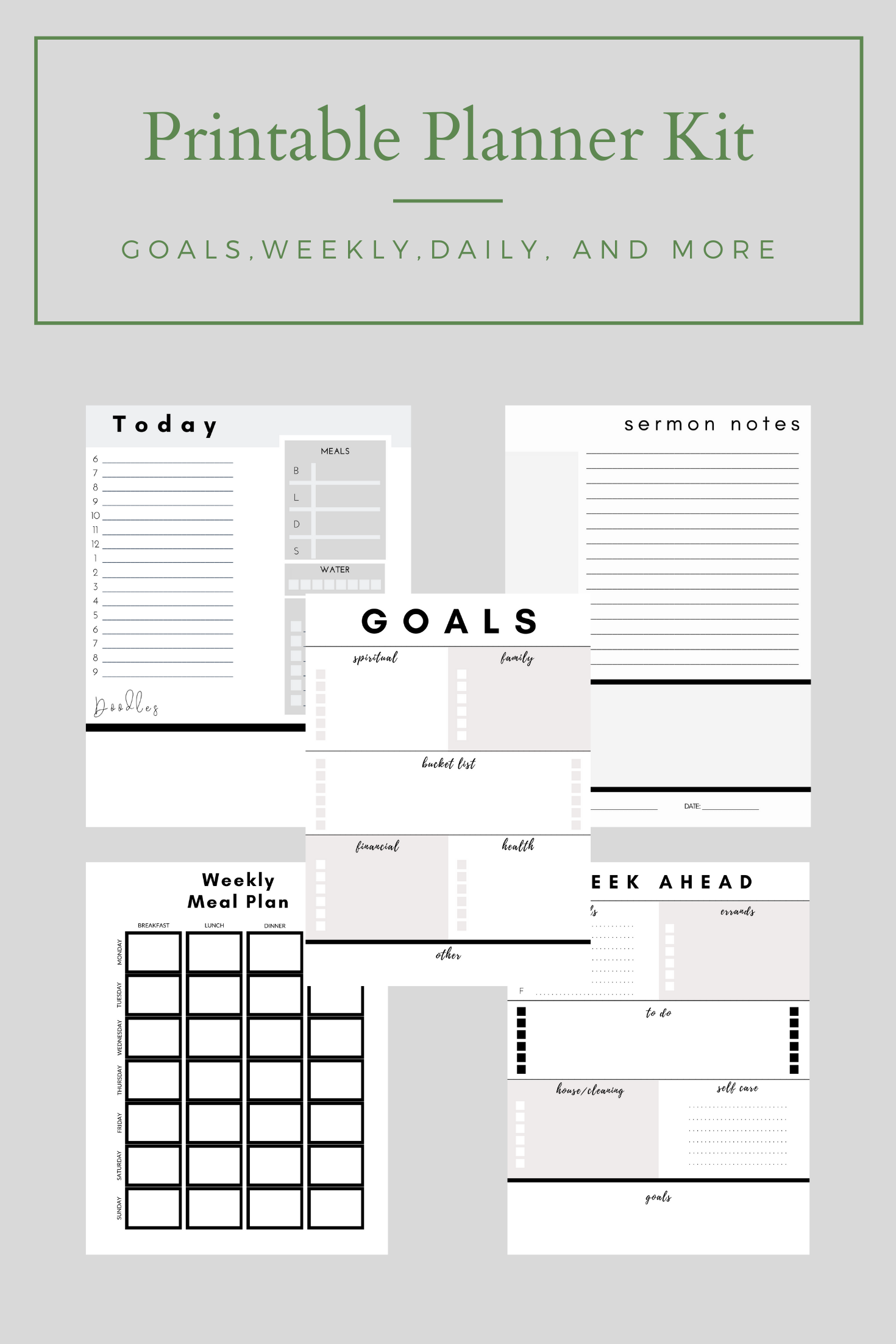 Printable Lifestyle Planner Kit In With Images