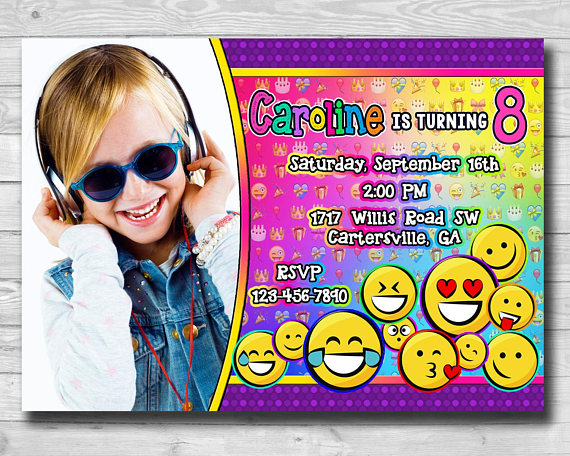 Emoji Invitations Birthday Invitation Party Girls Supplies