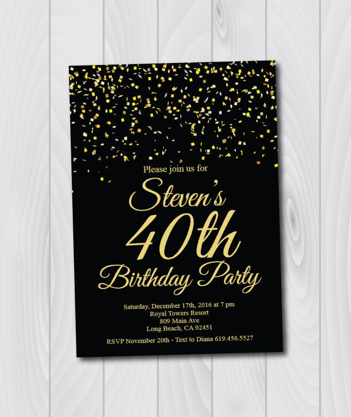 40th Birthday Invitation/Printable Gold & Black Birthday Invitation ...