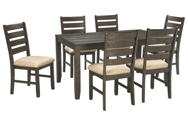 Brown Rokane Dining Room Table And Chairs Set Of 7 View 2