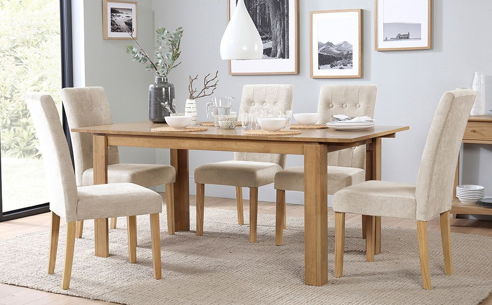 Bali Oak Extending Dining Table With 4 Regent Oatmeal Fabric