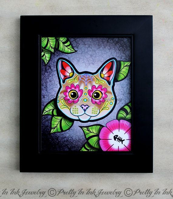 Day of the Dead Cream Tabby Kitty Cat Sugar Skull Art Print by Pretty In Ink Jewelry, $14.95