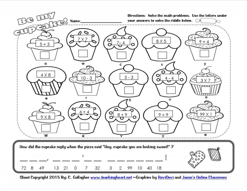 A Cupcake For You & 100th Day Fun! - Teaching Heart Blog Valentine Math  Worksheet, Math Fun Sheets, Fun Math Worksheets