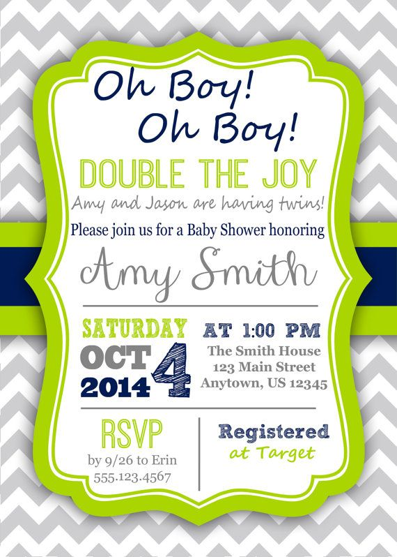 PRINTABLE Gray Grey Chevron Twin Baby Shower Invitation Twins Boy