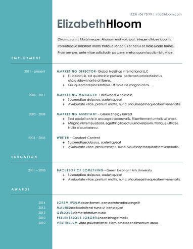 Blue Side Resume Template xkami Pinterest Modern resume - classic resume design