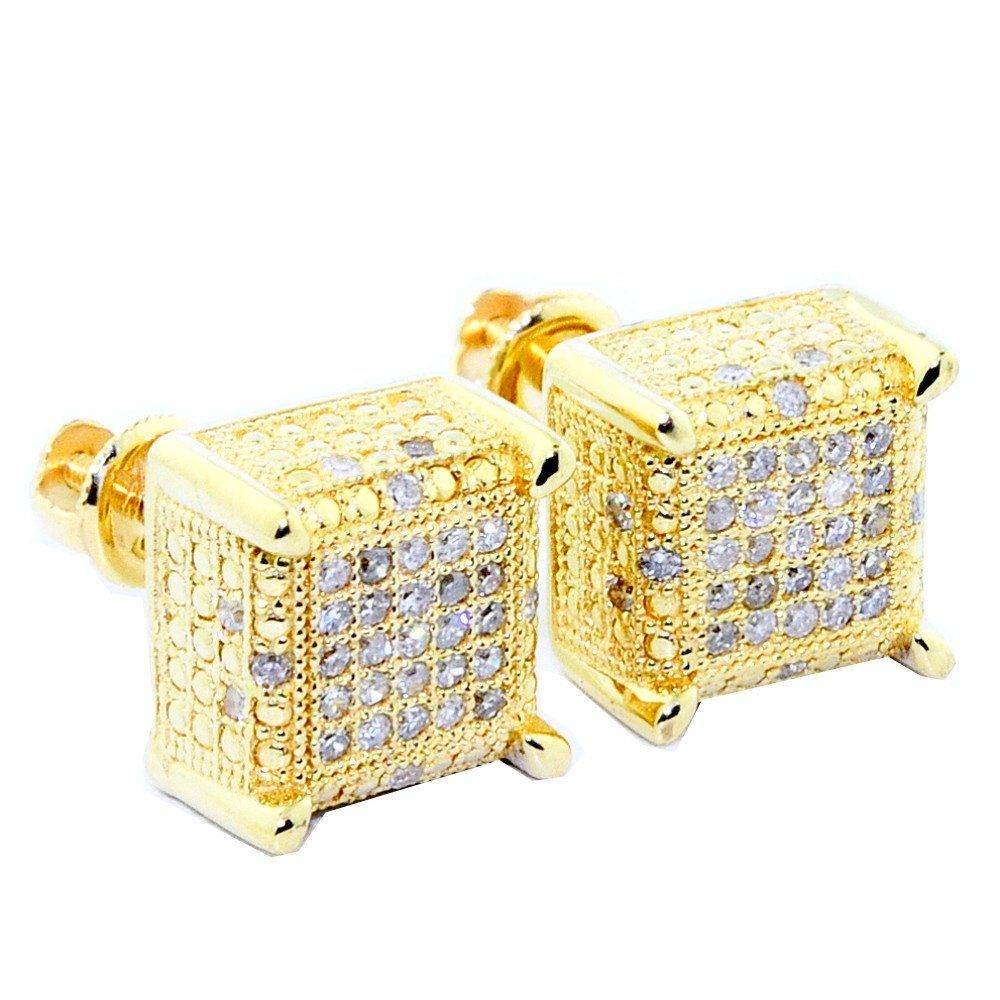 10K Yellow Gold 0.3cttw Pave Diamond Stud Earrings 9mm Wide Cube Shaped