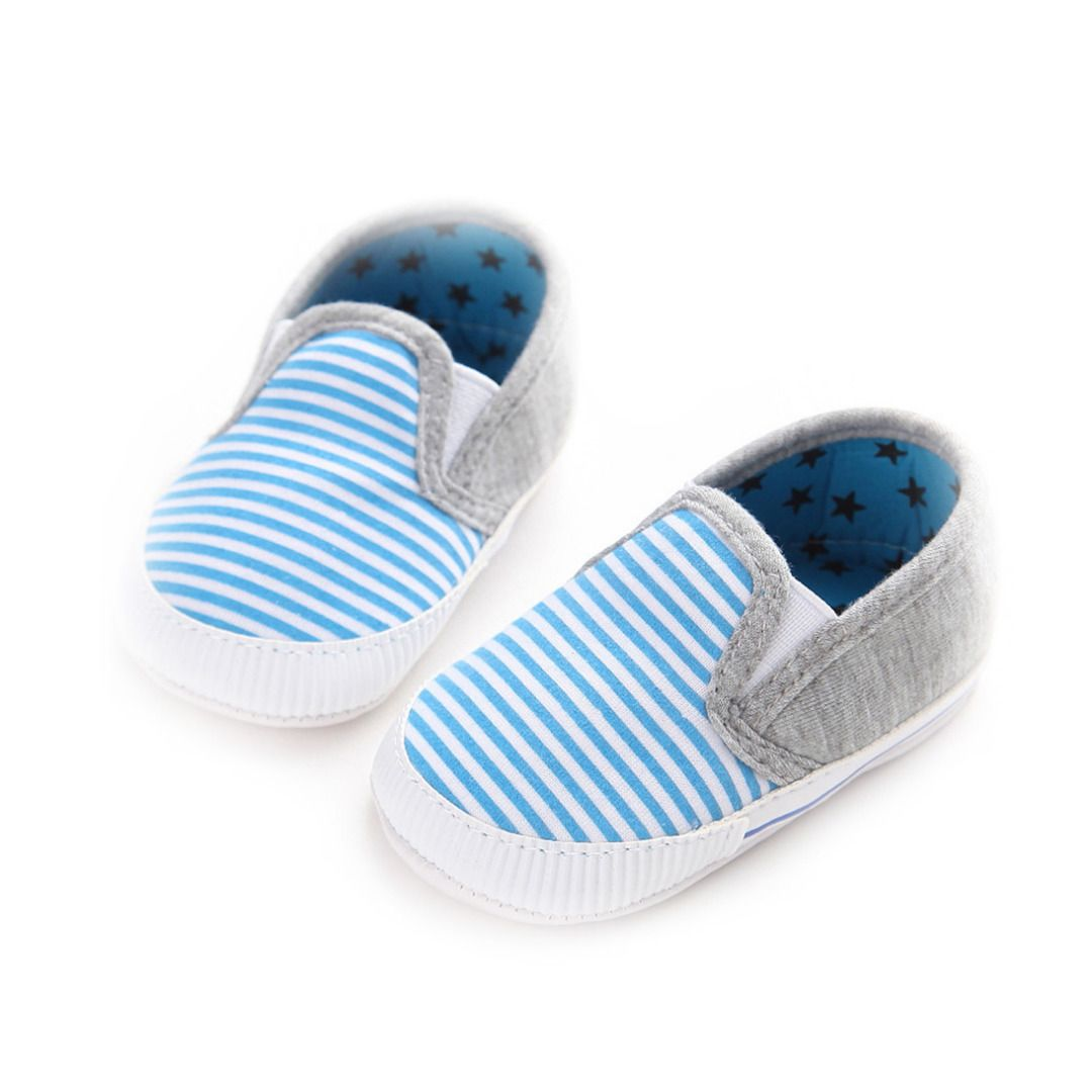 677f65ae3c2 Baby s Blue Pinstripes Cotton Soft Anti-skid Toddler Shoes