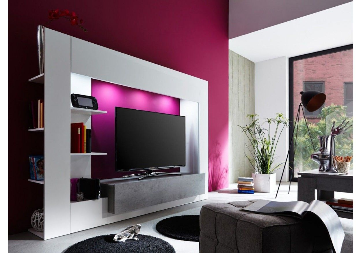 Diese Tolle Mediawohnwand Besticht Duch Sein Tolles Design. 93 01085  Wohnwand Weiss/ Beton