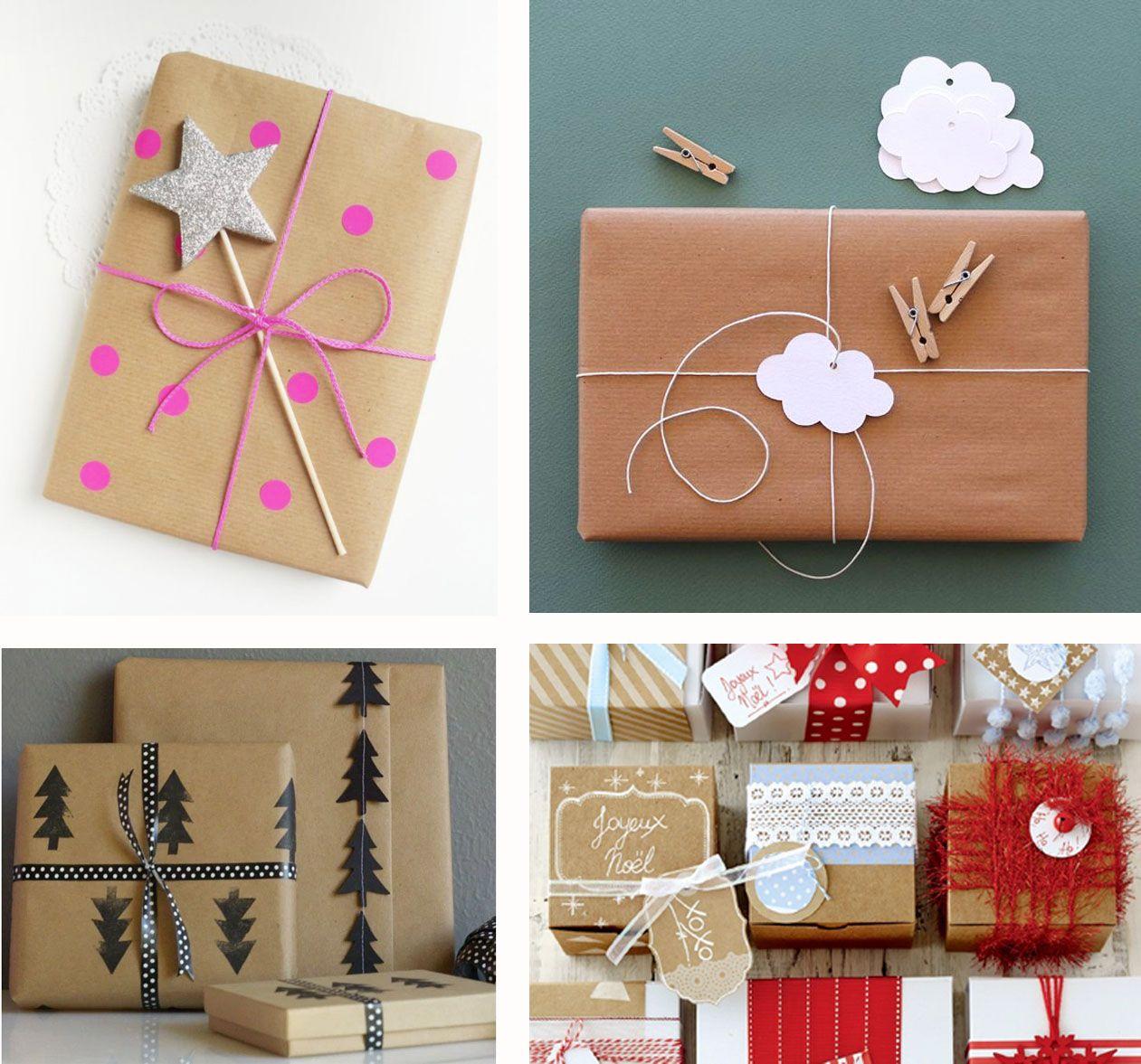 Decoration De Paquets Cadeaux inspiration - papier kraft, des paquets cadeaux emballants